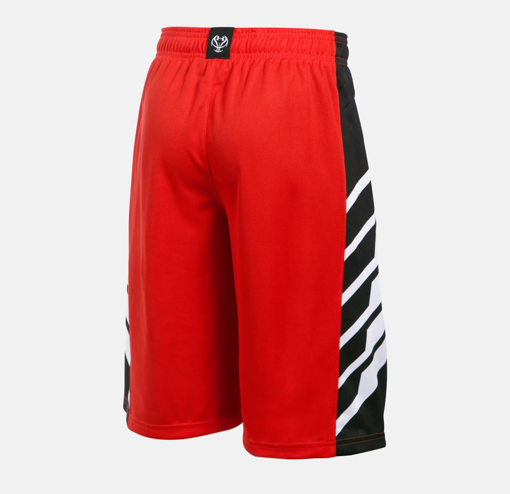 Red Select Boys' Basketball Shorts by Under Armour, back