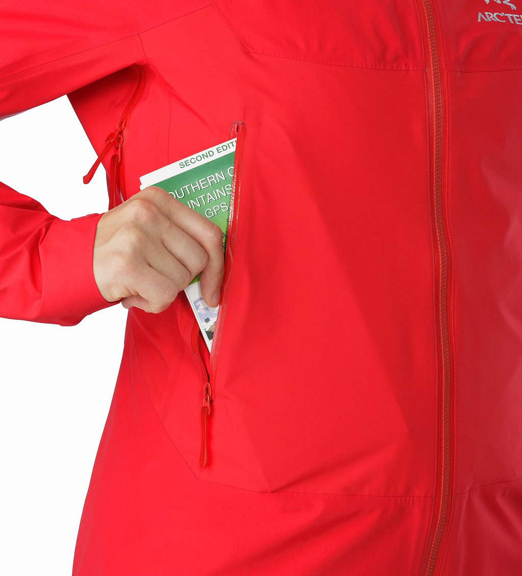 Red Women's Beta SL Hybrid Jacket by Arc'teryx, Pocket