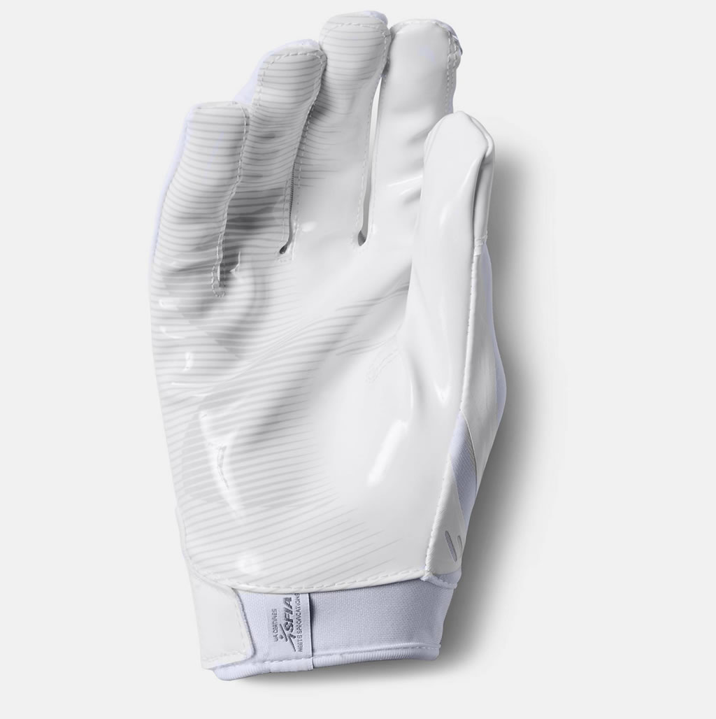 White F6 Men's Football Glove by UA, Palm